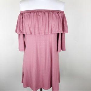Rachel Pally Off the Shoulder Flounce Mini Dress